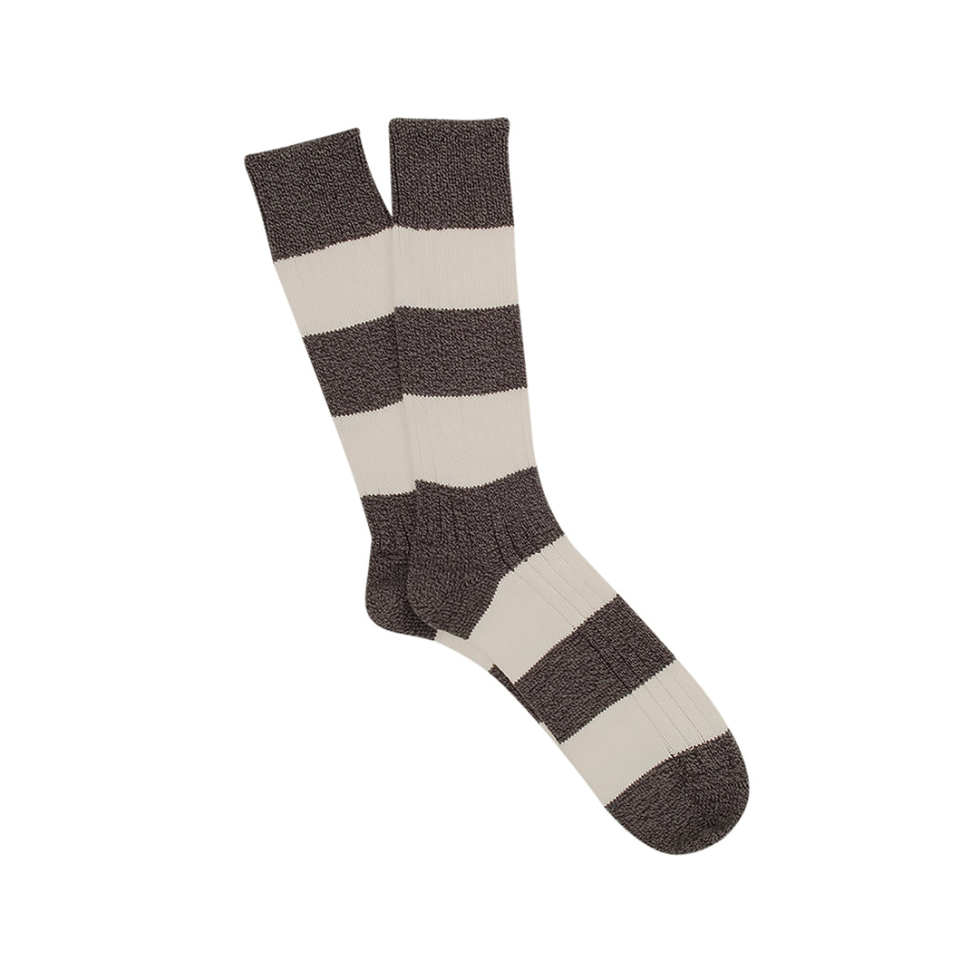 Corgi Rugby Stripe Wool & Cotton Socks - Charcoal
