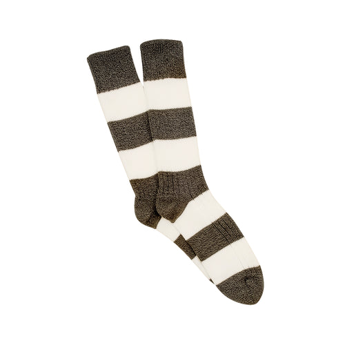 Corgi Rugby Stripe Wool & Cotton Socks - Seaweed