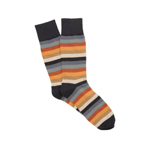 Corgi Seven Colour Stripe Cotton Socks - Navy/Orange