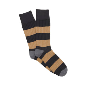 Corgi Rugby Stripe Cotton Socks - Navy/Sand
