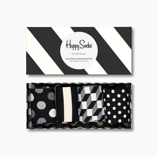 Happy Socks 4-Pack Black & White Gift Box