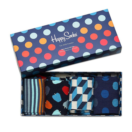 Happy Socks 4-Pack Navy Gift Box