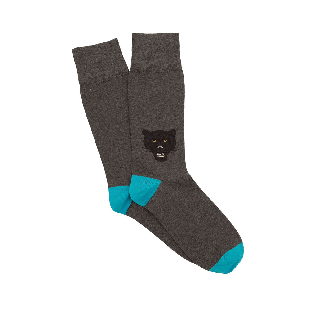 Corgi Angry Panther Cotton Socks - Charcoal