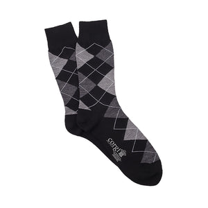 Corgi Argyle Merino Wool Socks - Black