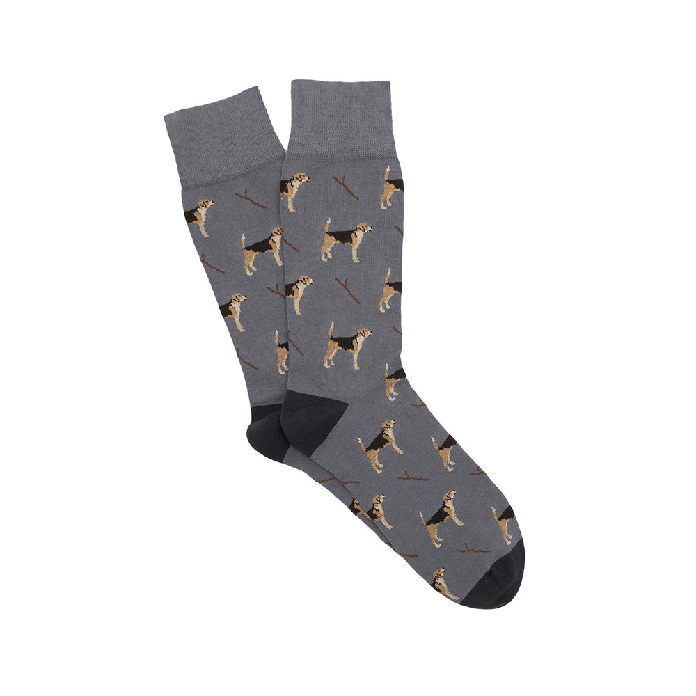Corgi Beagle Cotton Socks - Slate