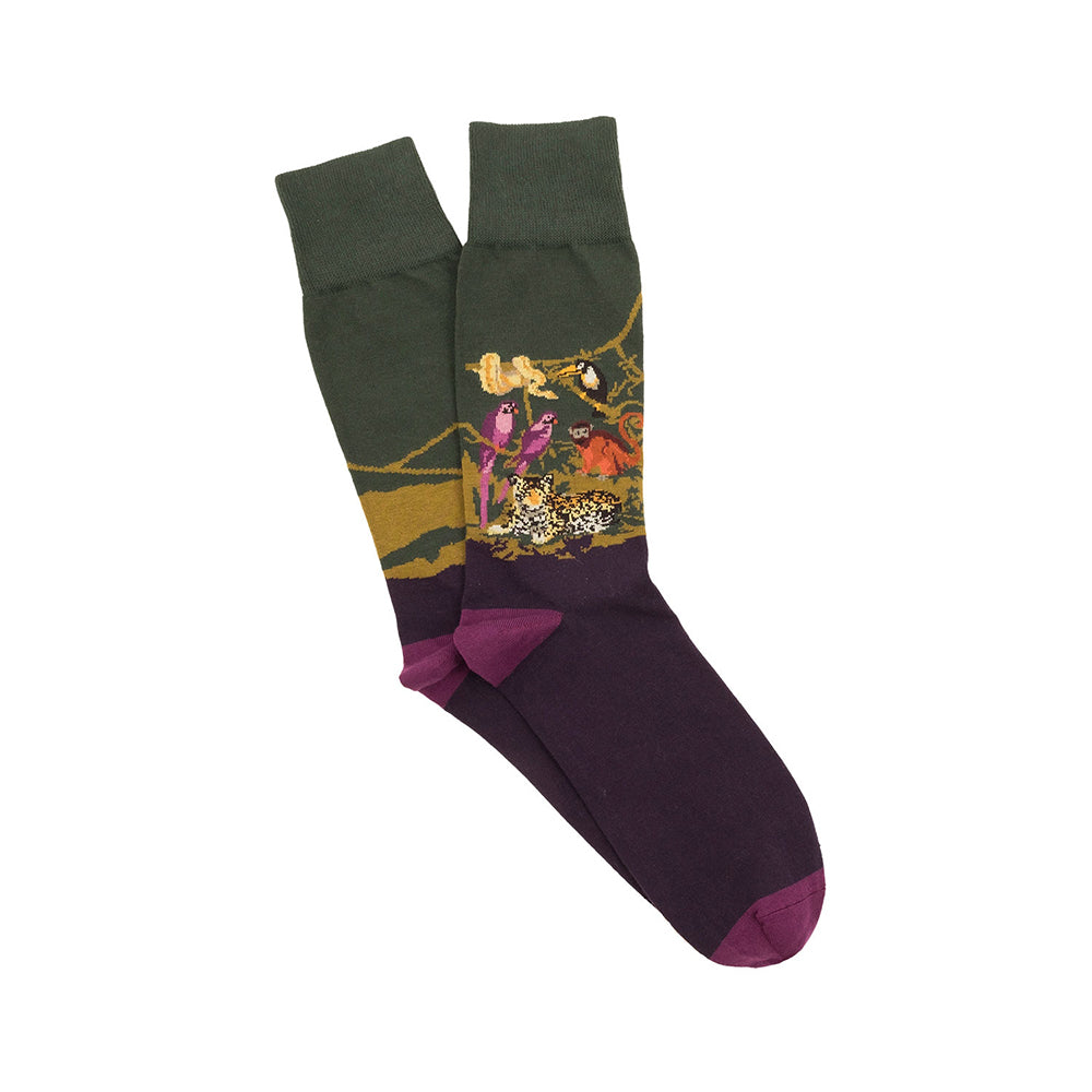 Corgi Jungle Scene Cotton Socks - Purple