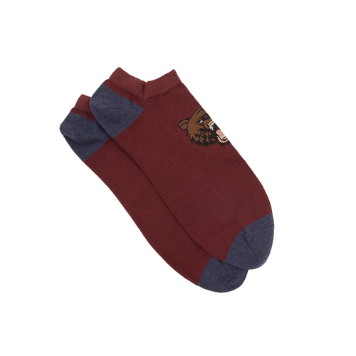 Corgi Low Cut Angry Bear Cotton Socks - Port