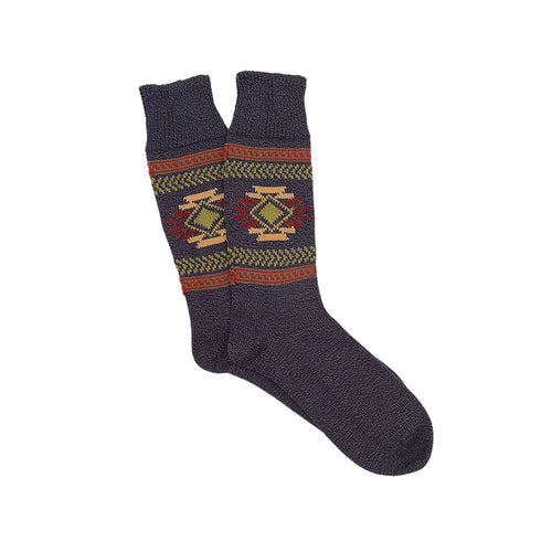 Corgi Navajo Pure Cotton Socks - Navy