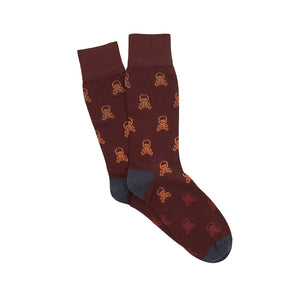 Corgi Ombre Skull Cotton Socks - Port