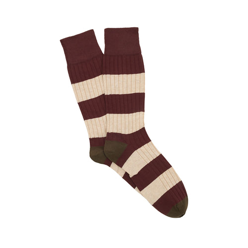 Corgi Rugby Stripe Cotton Socks - Port/Green