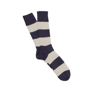 Corgi Rugby Stripe Pure Cotton Socks - Midnight