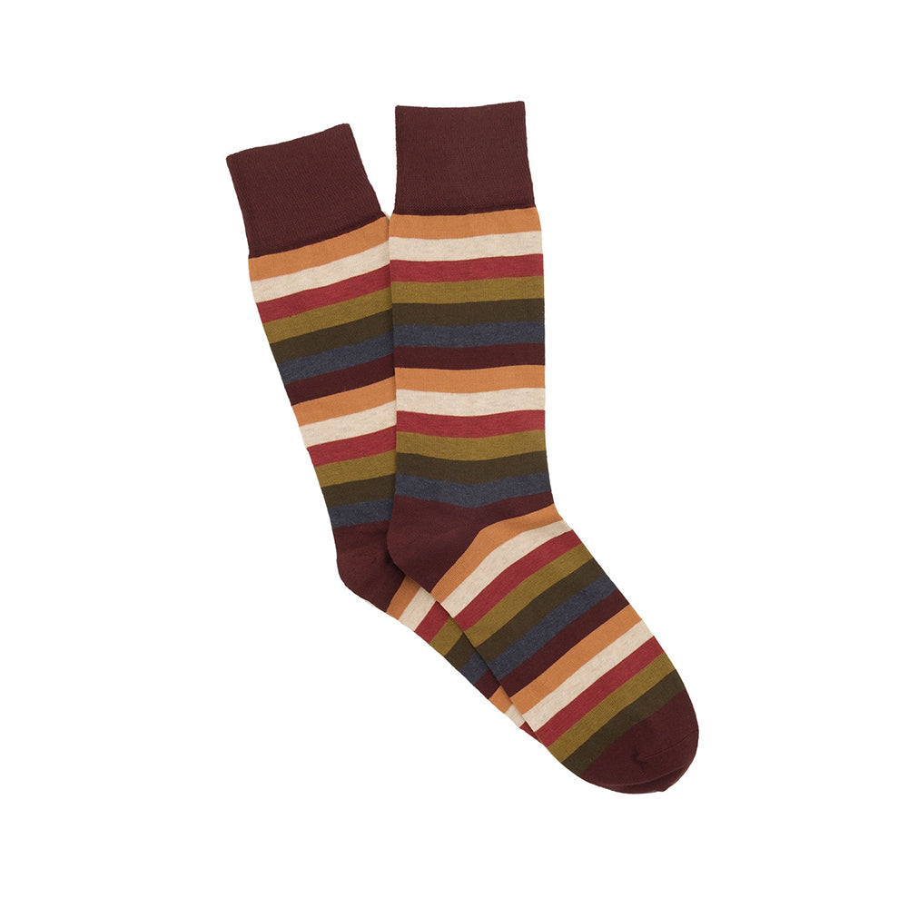 Corgi Seven Colour Stripe Cotton Socks - Port/Jeans