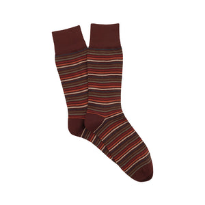 Corgi Thin Stripe Merino Wool Socks - Port