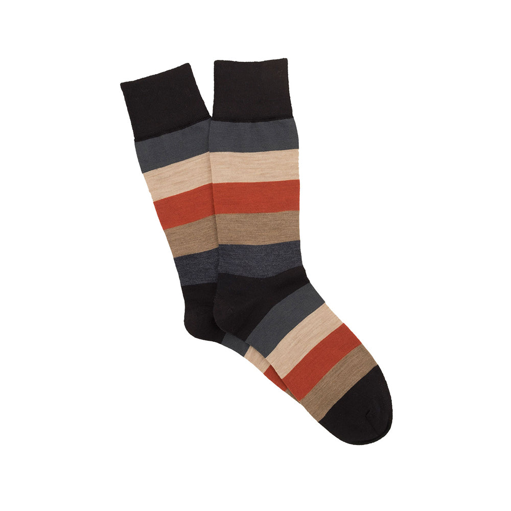 Corgi Wide Stripe Merino Wool Socks - Navy/Rust