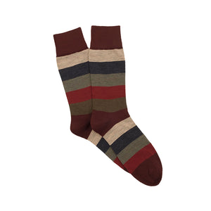 Corgi Wide Stripe Merino Wool Socks - Port/Green