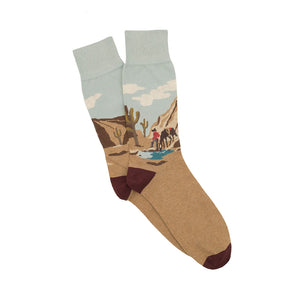 Corgi Wild West Cowboy Cotton Socks - Sand