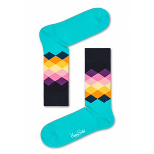 Happy Socks Faded Diamond Turquoise/Black