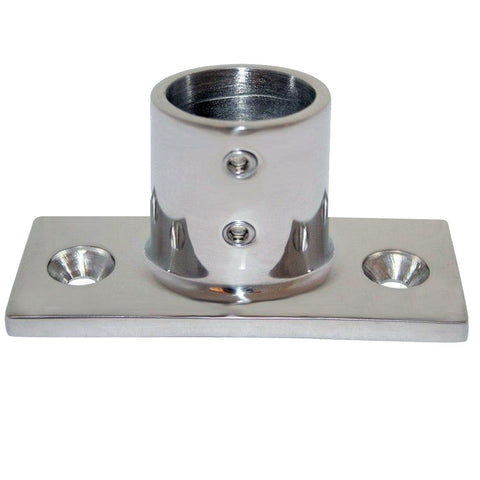 "Whitecap 1"" O.D. 90 Degree 2-Hole Rectangle Base SS Rail Fitting [6195]"