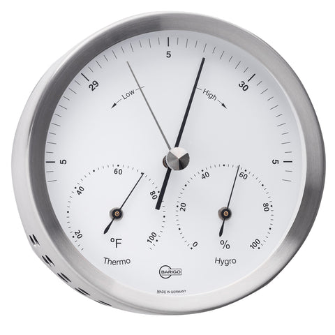 "BARIGO Steel Series Barometer - Thermometer - Hygrometer - Stainless Steel Housing - 4"" Dial [317M]"