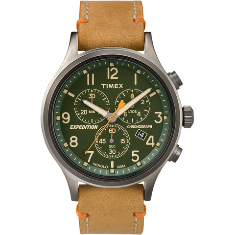 Timex Expedition Scout Chronograph Leather Watch - Green Dial [TW4B04400JV]