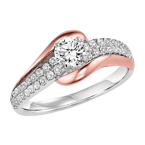 14k Rose and White Gold Diamond Engagement Ring