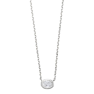 14kw Oval Bezel Set Necklace