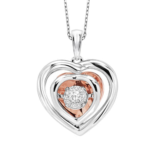 Rhythm of Love Heart Sterling Silver & Rose Gold Pendant