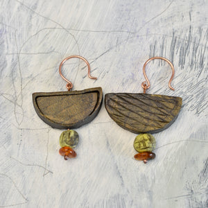 Ceramic beads, Amber & Copper Earrings
