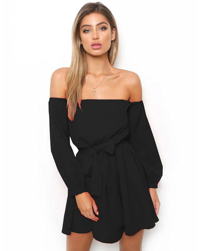 Nadafair Long Sleeve Off The Shoulder Casual Tube Dress Women Bow Strapless  Slash Neck Sexy Dress