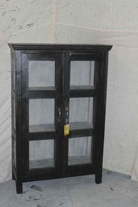 Small Black Glass Cabinet #004