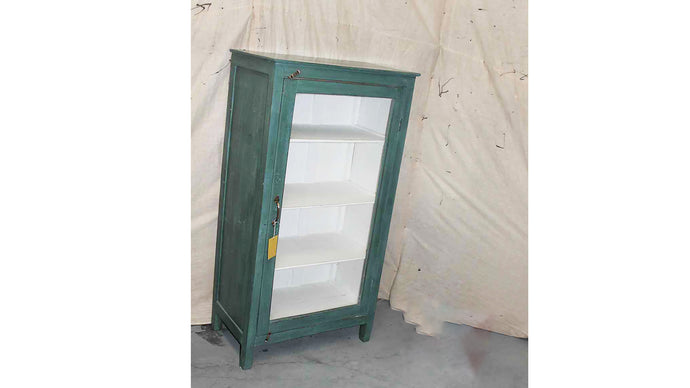 Green Glass Single Door Cabinet 008