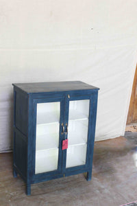 Dark Blue Cabinet with Double Glass Door