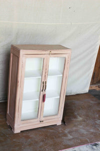 Salmon Cabinet with Glass Double Doors