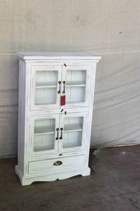 Double Door Glass Cabinet with Bottom Drawer