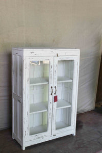 Distressed Double Door Glass Cabinet