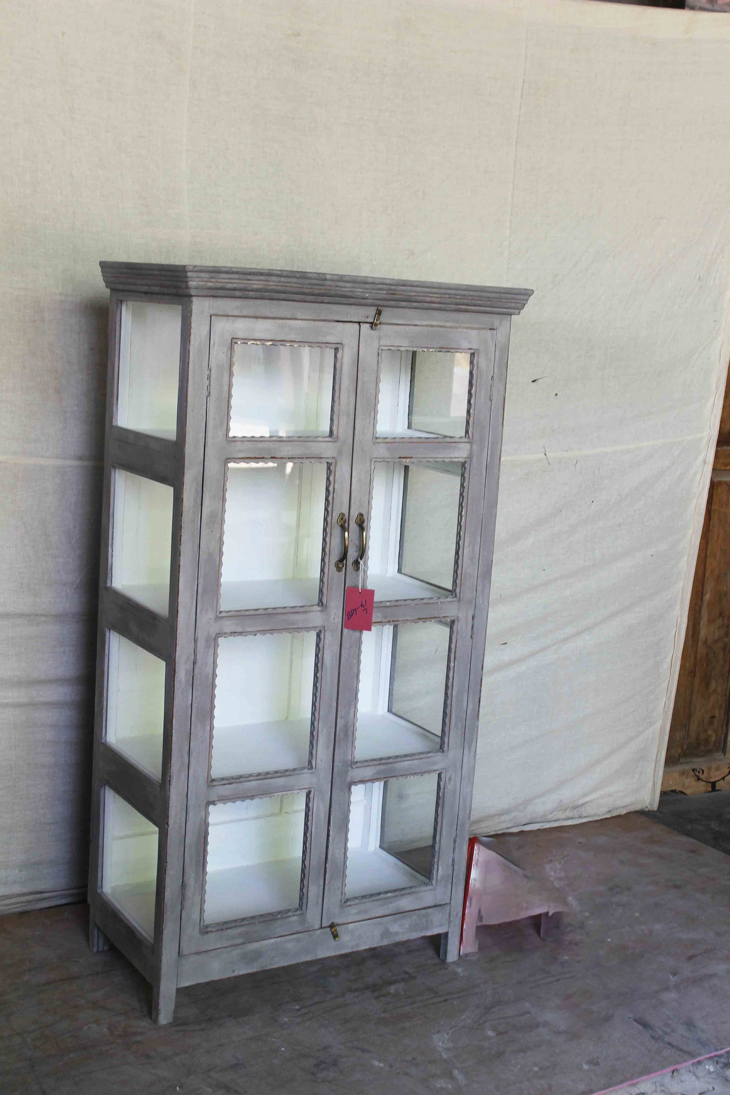 Tall Gray Double Glass Cabinet