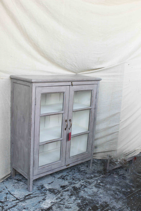 Small Gray Double Door Glass Cabinet