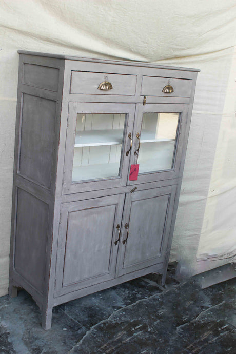 Gray Cabinet with Twin Top Drawers