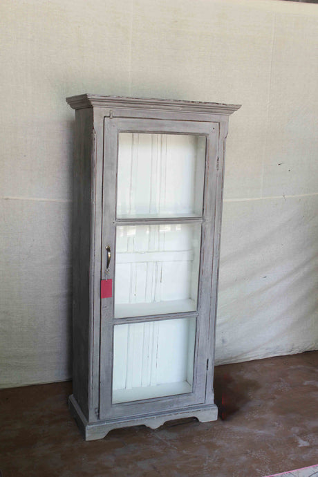 Gray Single Door Glass Cabinet