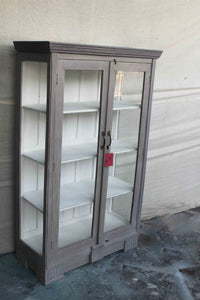 Gray Double Door Glass Cabinet with Clear Side Glass