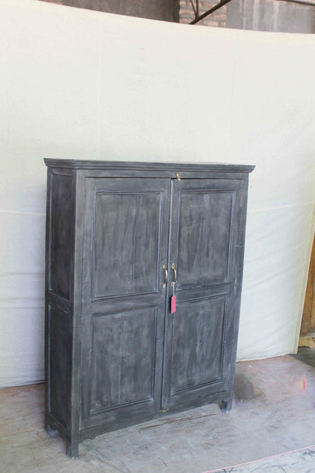 Dark Grey Double Door Wood Cabinet