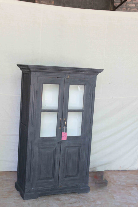 Dark Grey Double Door Half Glass Cabinet