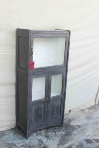 Gray Cabinet with Top and Bottom Glass Door