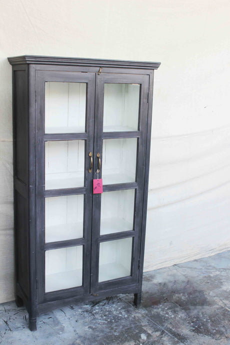 Tall Black Cabinet with Double Glass Door