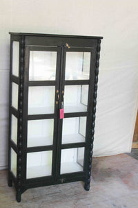 Black Twisted Detail Double Glass Door Cabinet