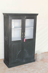 Black Double Door Glass Cabinet with Abstract Design