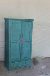 Tall Blue Double Wood Door Cabinet with Bottom Drawer