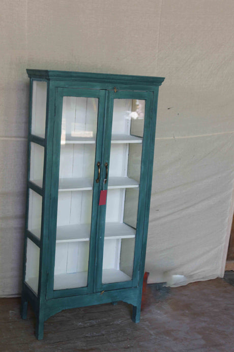 Tall Glass Double Door Cabinet with Side View