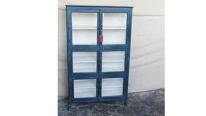 Midnight Blue Glass Cabinet, Farmhouse Glass Closet