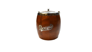 Antique Wooden Biscuit Barrel | Primitive English Tea Caddie | Vintage Cookie Jar
